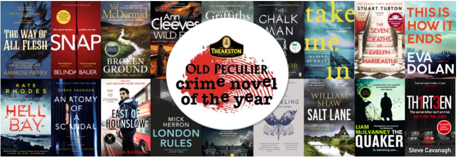 Imagem mostra a capa dos dezoito títulos que concorrem ao premio Old Peculier Crime Novel of the Year 2019