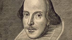 Desenho de William Shakespeare, careca, cm cabelos do meio da testa para traz. Longas sobrancelhas e pequeno bigode.
