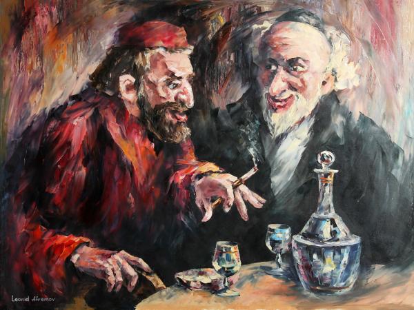 Dois homens em conversação (óleo sobre tela)