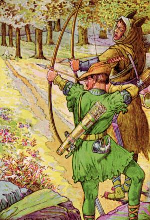 Desenho colorido de Robin Hood na floresta ao lado de um de seus colegas  atirando uma flecha.